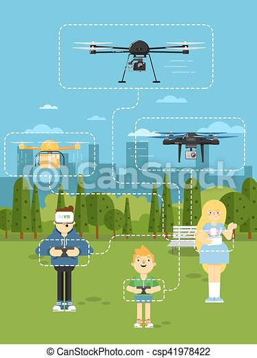Drone Aircraft Template With Flying Robots Vector