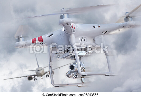 Drone and airplane - csp36243556