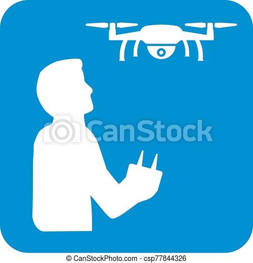 Drone and Drone Pilot Icon - csp77844326