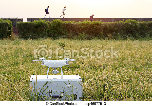 Drone before the flight on metal bag - csp46977513
