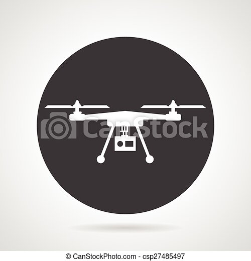 Drone black round vector icon - csp27485497