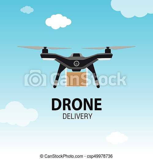 Drone delivery concept  Copter or quadcopter service, order, worldwide  shipping