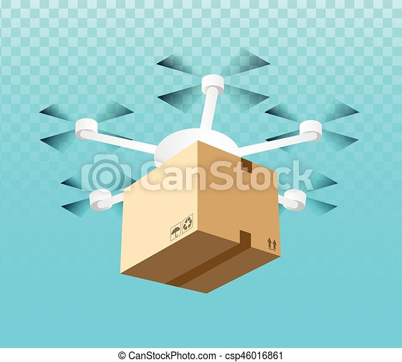 Drone Delivery Concept Vector Illustration Quadcopter Carrying A Package