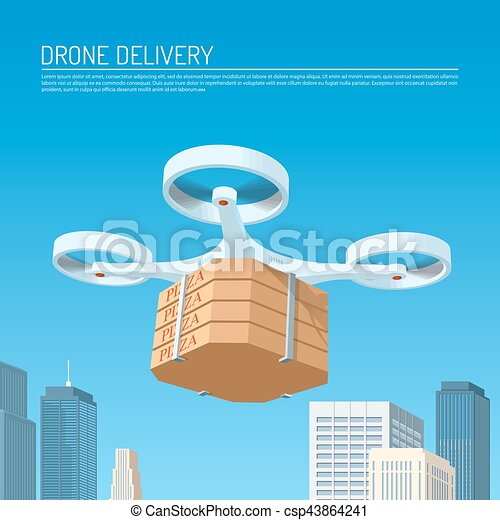 Drone Delivery Concept Vector Illustration Quadcopter Carrying A Package With Pizza
