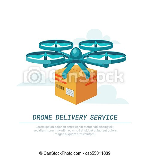 Drone delivery service  Remote air drone with parcel  Modern delivery of  the package by flying quadcopter  Flat style concept