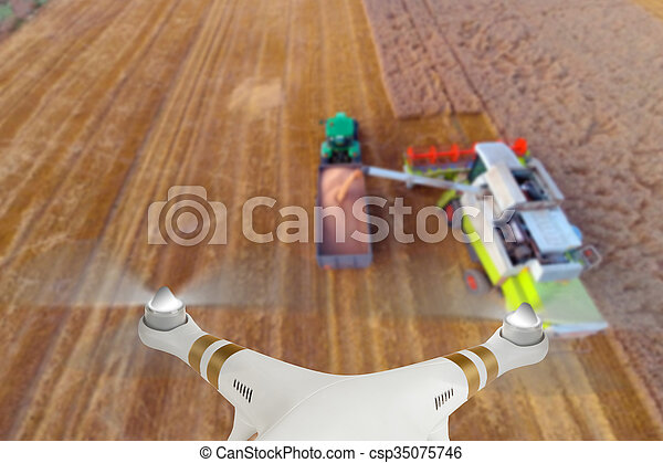Drone flying above combine harvester - csp35075746