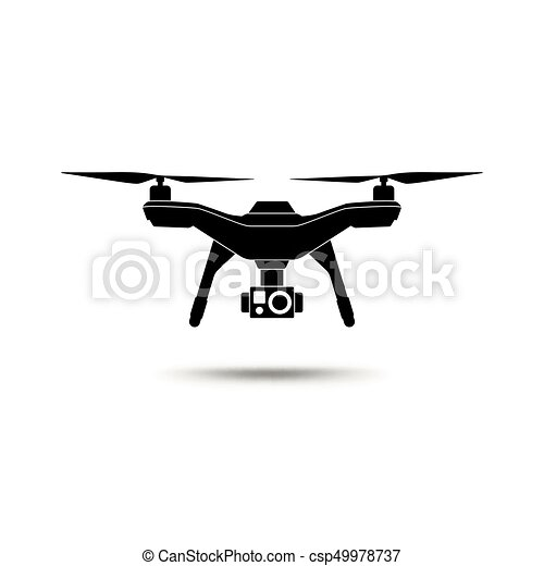 Drone Icon Copter Or Quadcopter With Camera Isolated On White Background Vector