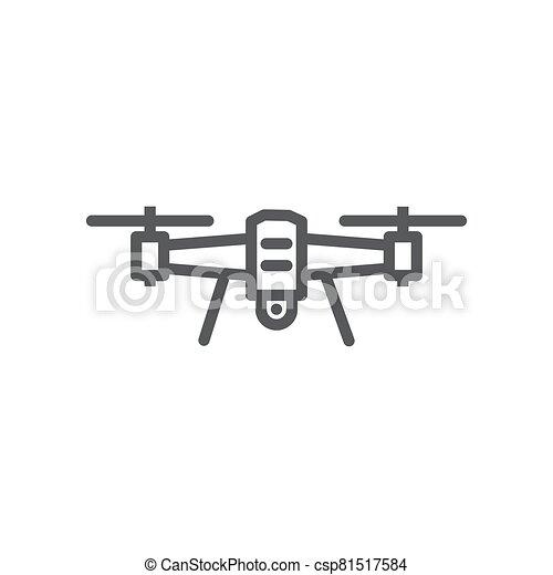 Drone line icon on white background - csp81517584