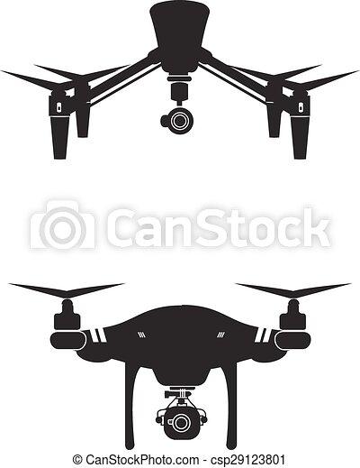 Drone Logo Design Icon Technology Camera Vector Illustration - csp29123801