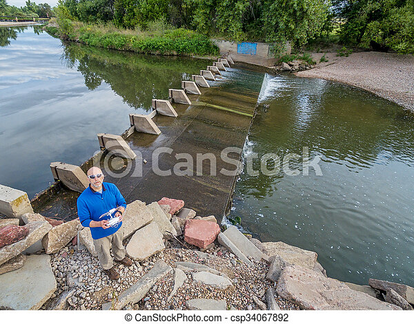 drone operator from above - csp34067892