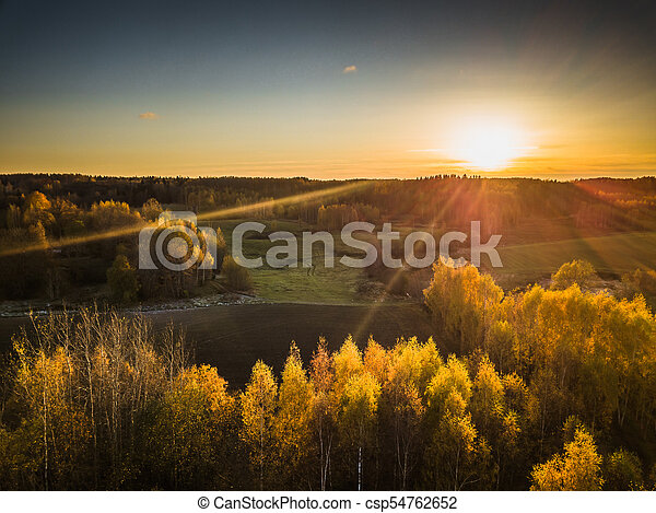 Drone Photo of the Fields in Colorful Late Autumn - csp54762652