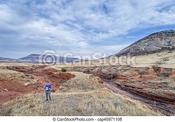 drone pilot at Colorado foothills - csp45971108