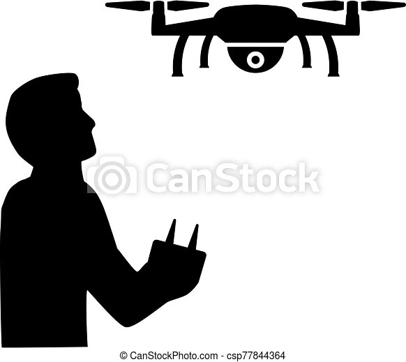 Drone Pilot flying silhouette black - csp77844364
