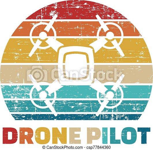 Drone Pilot Icon in vintage colors - csp77844360