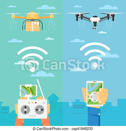 Drone technology concept with flying robots - csp41948233