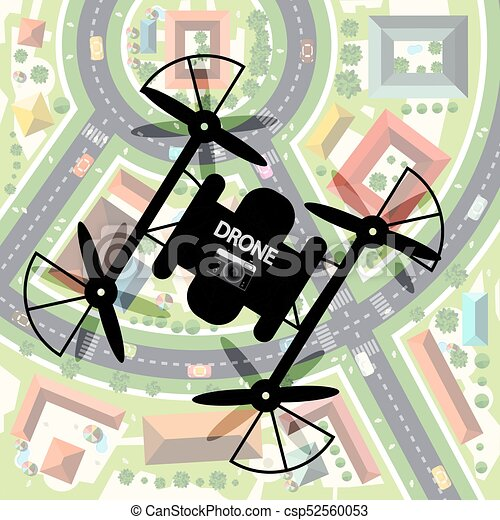 Drone with City Below. Top View Town with Camera on Mechanism. Remote Controlled Video Recording Device. - csp52560053