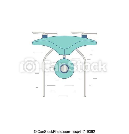 Drone With Video Camera Vector Icon Or Illustration In A Outline Style