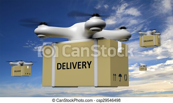 Drones with delivery carton box on blue sky background  - csp29546498