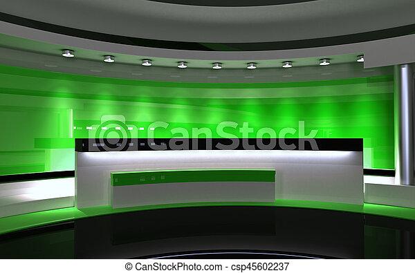 drop., τηλεόραση , πίσω , απόδοση , πράσινο , 3d , studio. - csp45602237