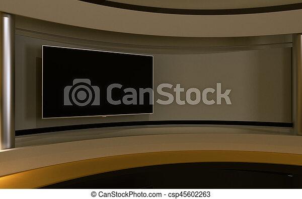 drop., τηλεόραση , πίσω , κίτρινο , απόδοση , 3d , studio. - csp45602263