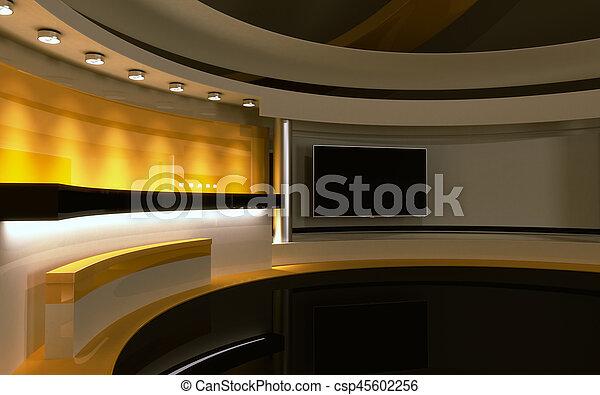 drop., τηλεόραση , πίσω , κίτρινο , απόδοση , 3d , studio. - csp45602256