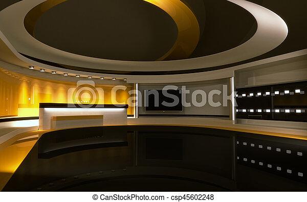 drop., τηλεόραση , πίσω , κίτρινο , απόδοση , 3d , studio. - csp45602248