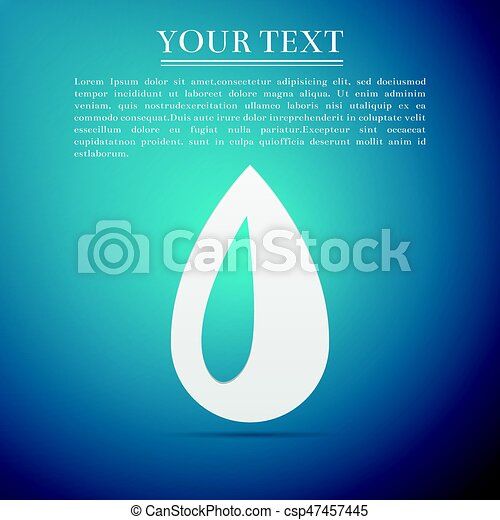Drop flat icon on blue background. Vector Illustration - csp47457445
