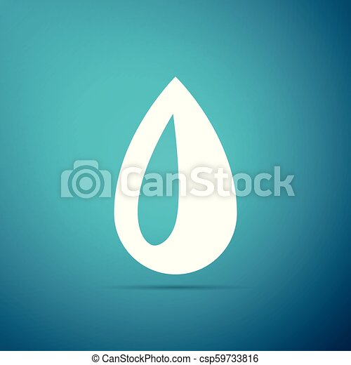 Drop icon isolated on blue background. Flat design. Vector Illustration - csp59733816