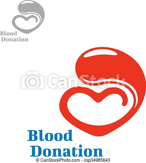 Drop Of Blood Flowing Into A Heart Blood Donation Symbol Design