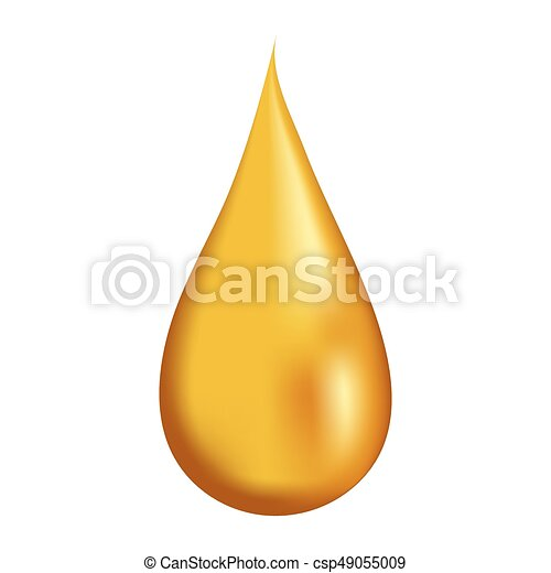 Drop of honey on white background isolated, 3d vector realistic - csp49055009