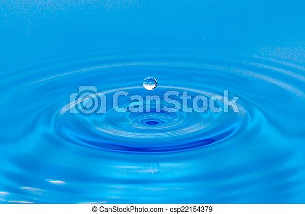 Drop of water in blue - csp22154379