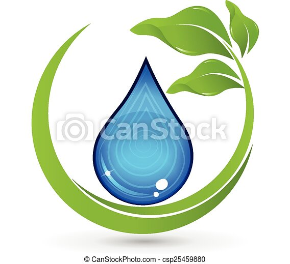 Drop of Water with green leafs logo - csp25459880