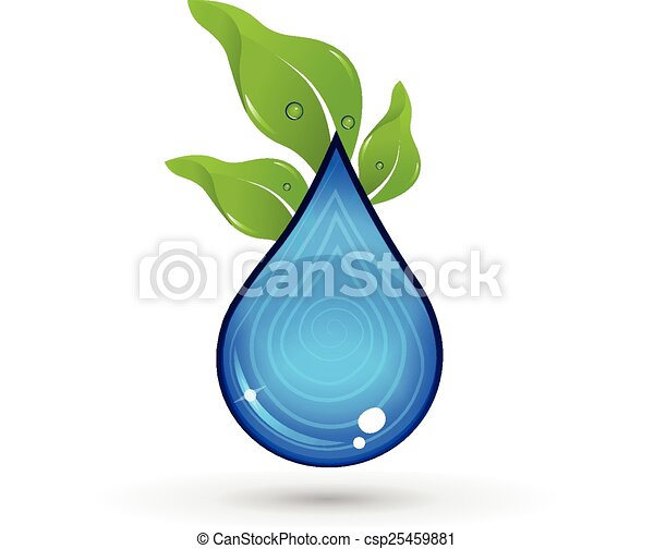 Drop of Water with green leafs logo - csp25459881
