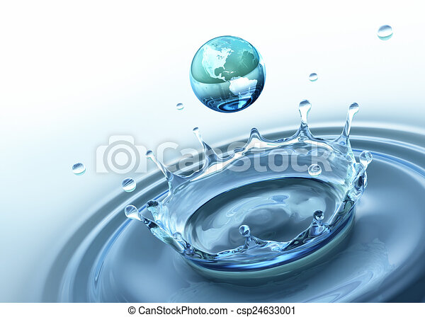 Drop of water with the texture of Earth. - csp24633001