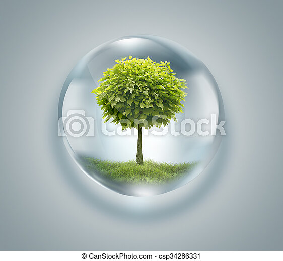 drop of water with tree inside  - csp34286331