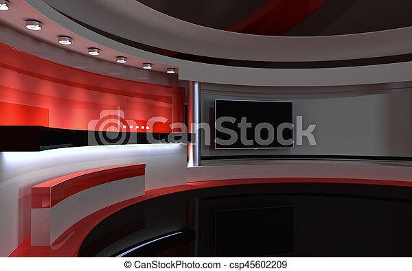 drop., tv, 背中, レンダリング, 3d, 赤, studio. - csp45602209