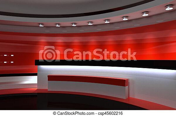 drop., tv, 背中, レンダリング, 3d, 赤, studio. - csp45602216