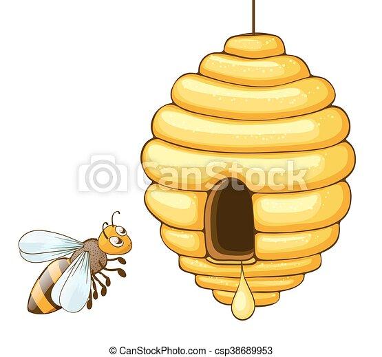 drop vuelo ilustracin abeja miel colmena vector