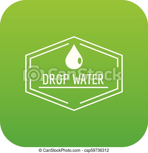Drop water icon green vector - csp59736312