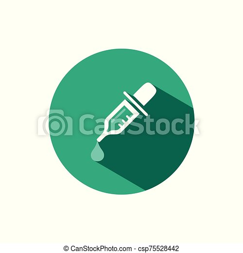 Dropper pipette icon with shadow on a green circle. Vector pharmacy illustration - csp75528442
