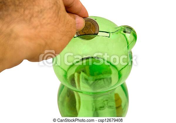 Drops a coin bank.2 - csp12679408
