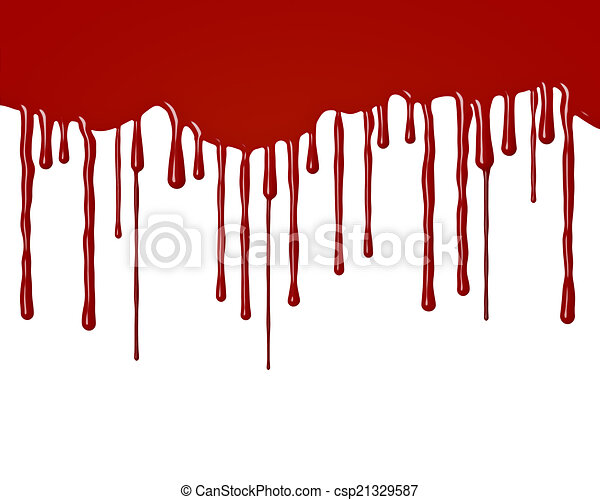 Drops of blood flowing down - csp21329587