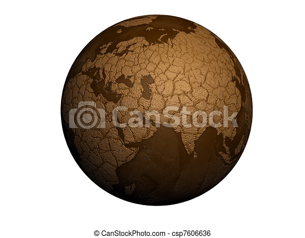 Line Art Earth : Drought earth globe isolated on white background stock