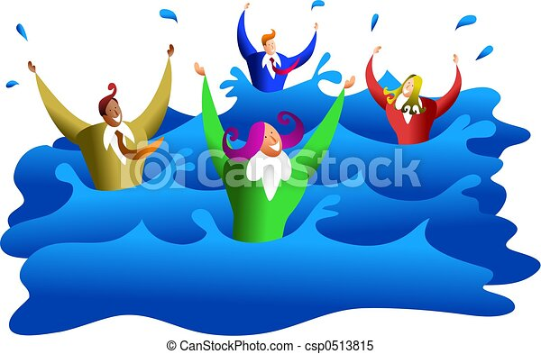 drowning business a group of diverse business men and women rh canstockphoto com clipart drowning man clipart drowning woman