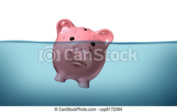 Drowning in debt - csp8172394