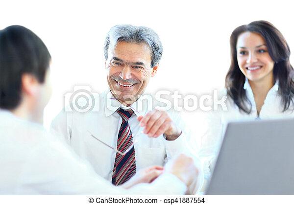 drużyna, trzy, handlowe biuro, posiedzenie - csp41887554