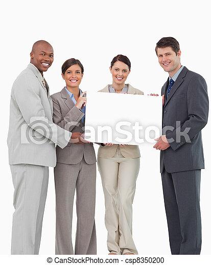 drużyna, zbyt, razem, znak, dzierżawa, czysty, uśmiechanie się - csp8350200