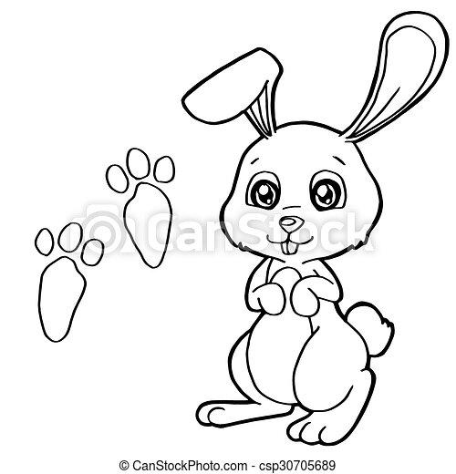 Druck, färbung, kaninchen, pag, pfote. Färbung, kaninchen,... Vektor ...