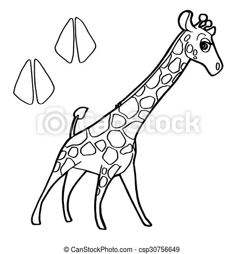 Druck, giraffe, färbung, pag, pfote. Färbung, pfote, bild,... EPS ...