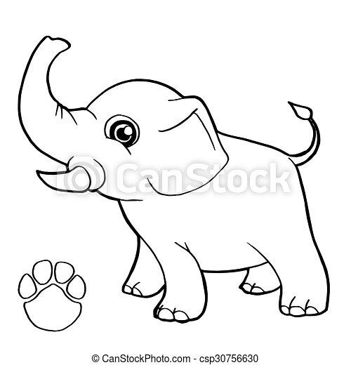 Druck, papa, färbung, elefant, pfote. Färbung, pfote, bild ...